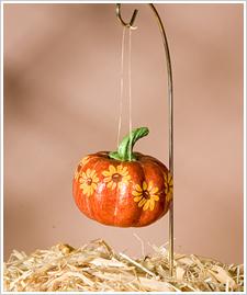 Yellow Daisies on Pumpkin Ornament