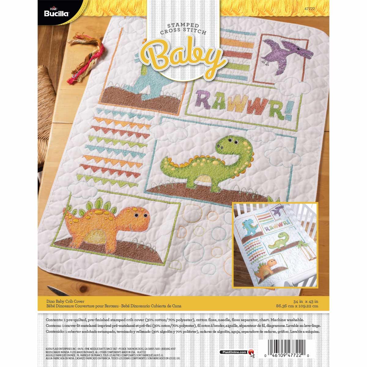 Bucilla ® Baby - Stamped Cross Stitch - Crib Ensembles - Dino Baby - Crib Cover