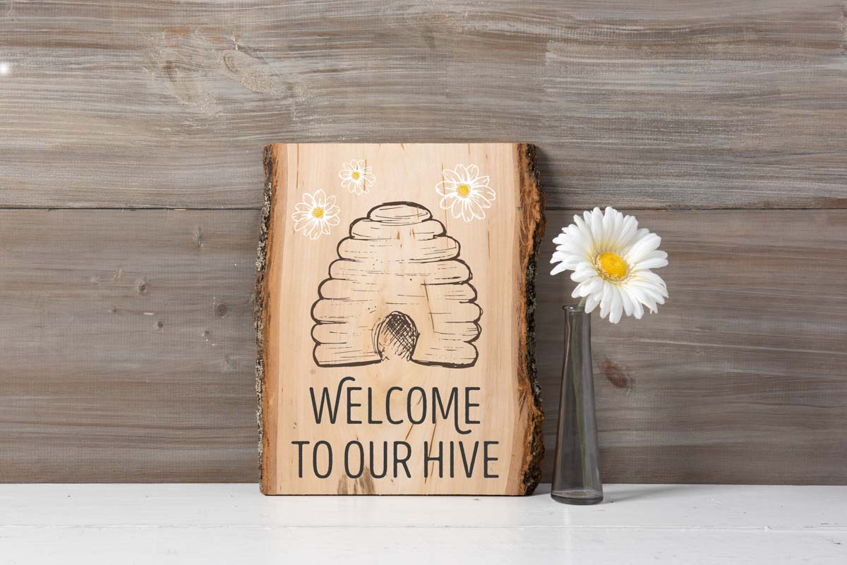 Welcome to our Hive Stenciled Sign