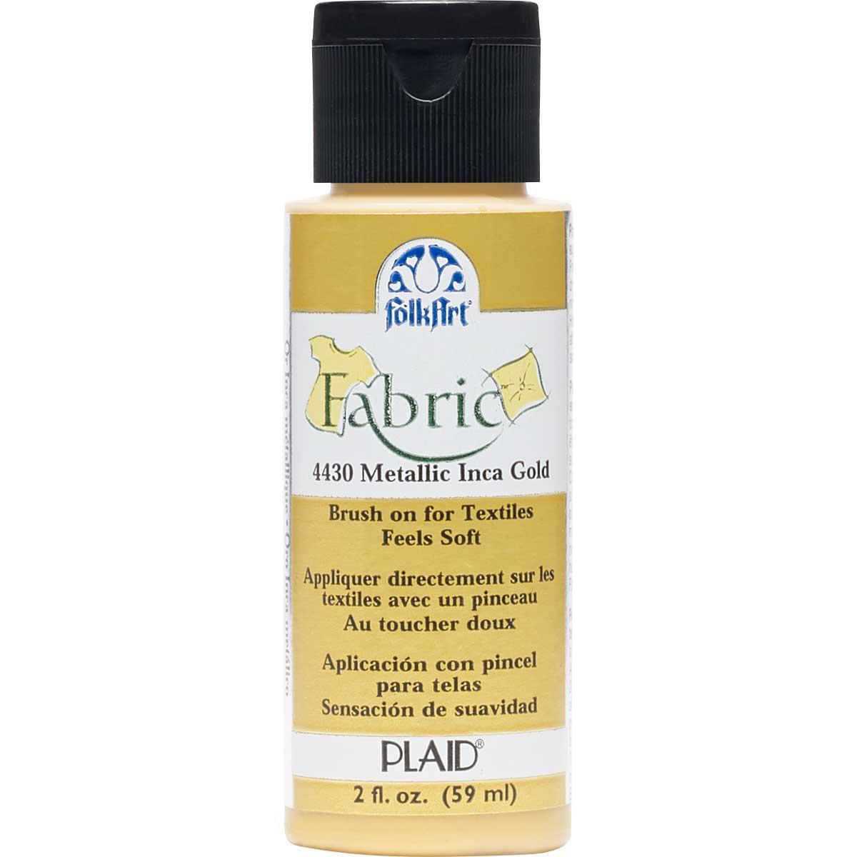 FolkArt ® Fabric™ Paint - Brush On - Metallic Inca Gold