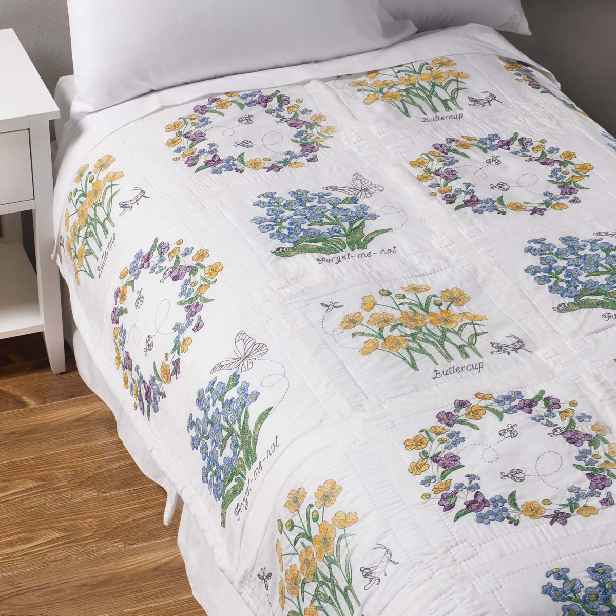 Bucilla ® Stamped Cross Stitch - Quilt Blocks - Floral Splendor