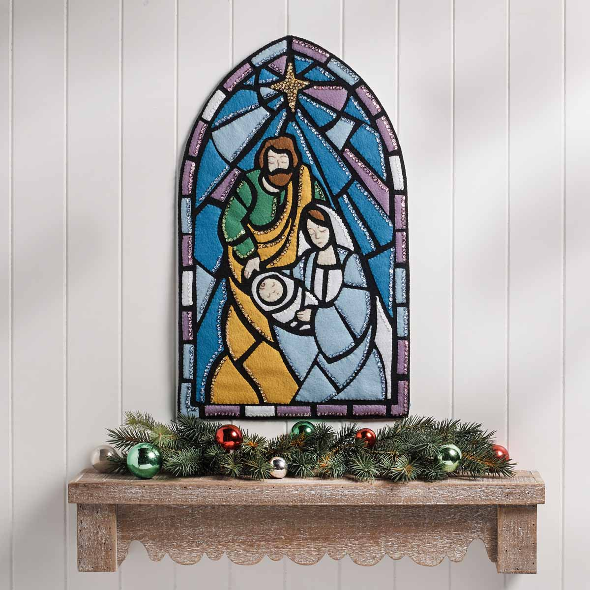 Bucilla ® Seasonal - Felt - Home Decor - Stained Glass Nativity Wall Hanging - 89271E