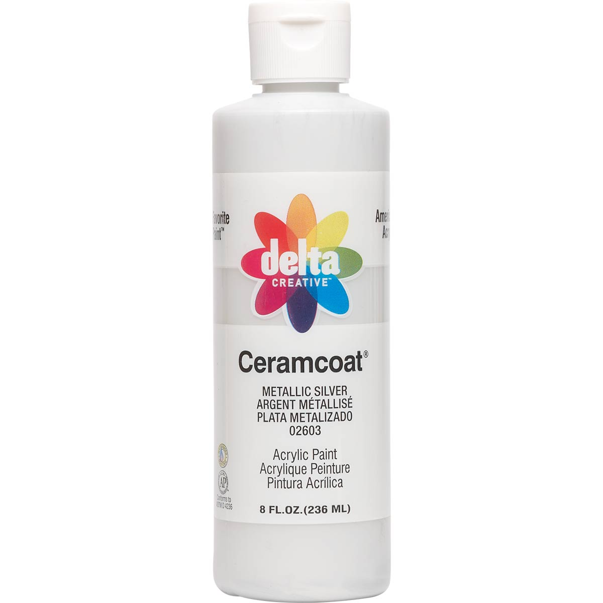 Delta Ceramcoat ® Acrylic Paint - Metallic Silver, 8 oz.