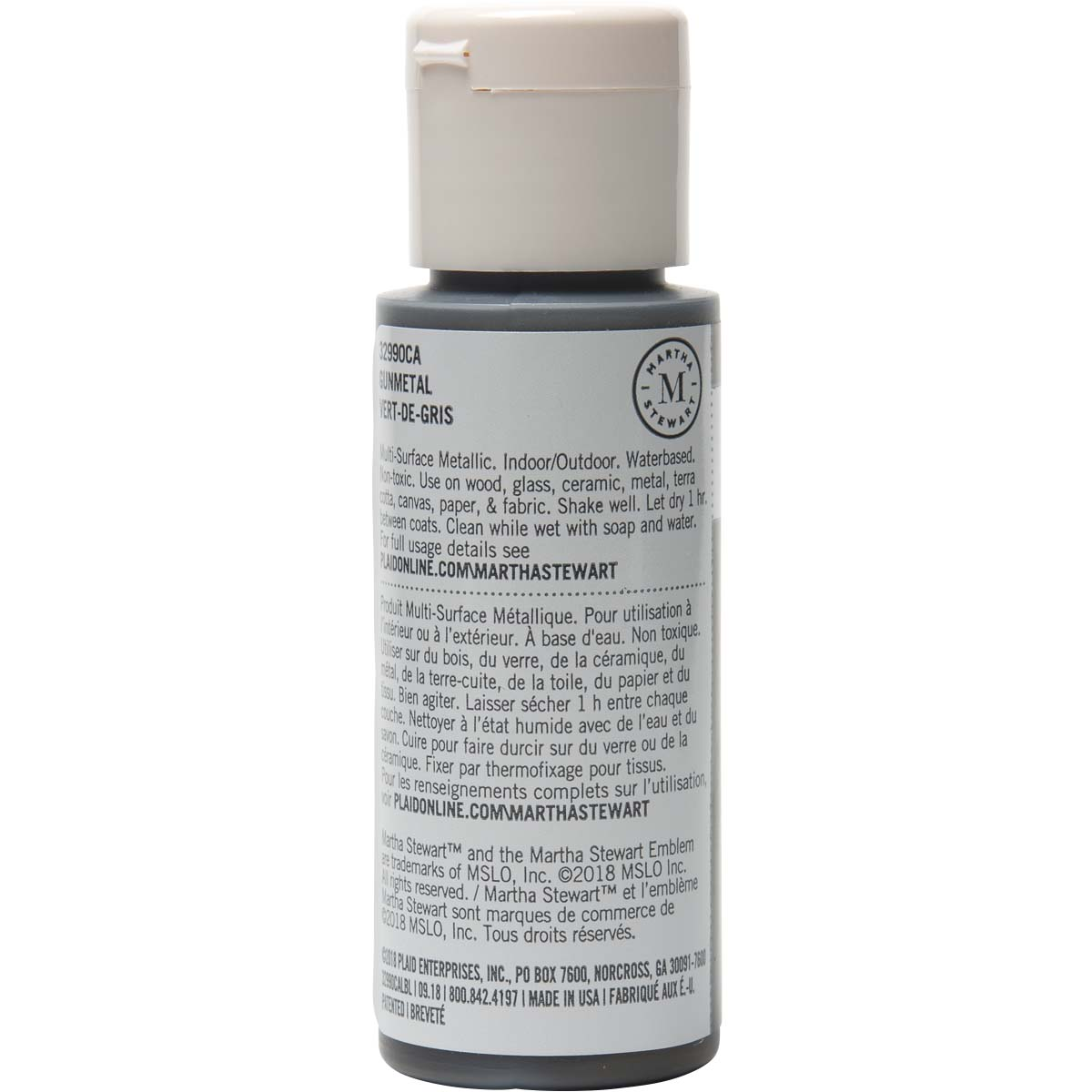 Martha Stewart ® Multi-Surface Metallic Acrylic Craft Paint - Gunmetal, 2 oz. - 32990CA