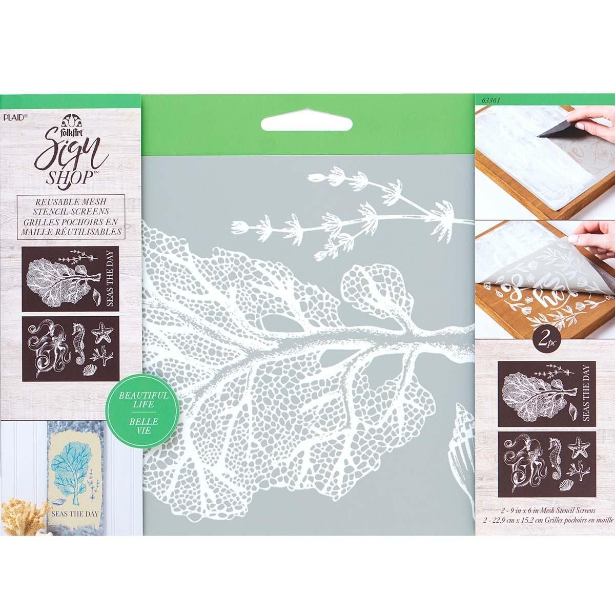 FolkArt ® Sign Shop™ Mesh Stencil - Sea Life, 2 pc. - 63361