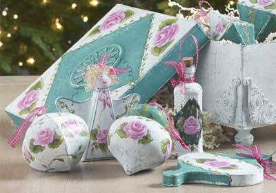 Shabby Chic Holiday Ornaments and Ornament Box