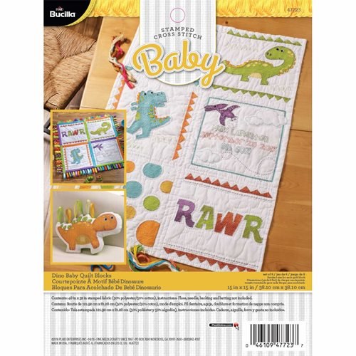 Bucilla ® Baby - Stamped Cross Stitch - Crib Ensembles - Dino Baby - Quilt Blocks