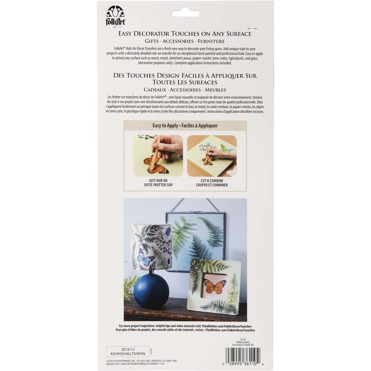 FolkArt ® Rub-On Décor Transfer - Fern and Bugs, 3 pc. - 36110