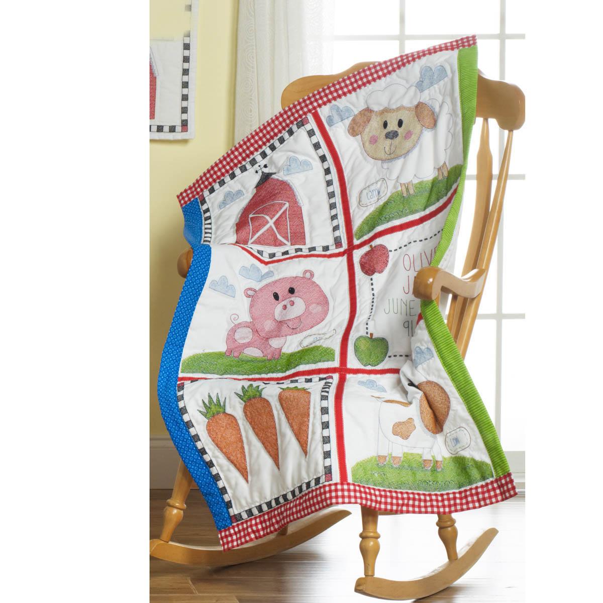 Bucilla ® Baby - Stamped Cross Stitch - Crib Ensembles - Farm Animals - Quilt Blocks - 47731