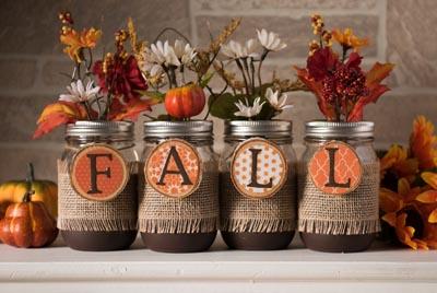 Decoupage Mason Jars for Autumn