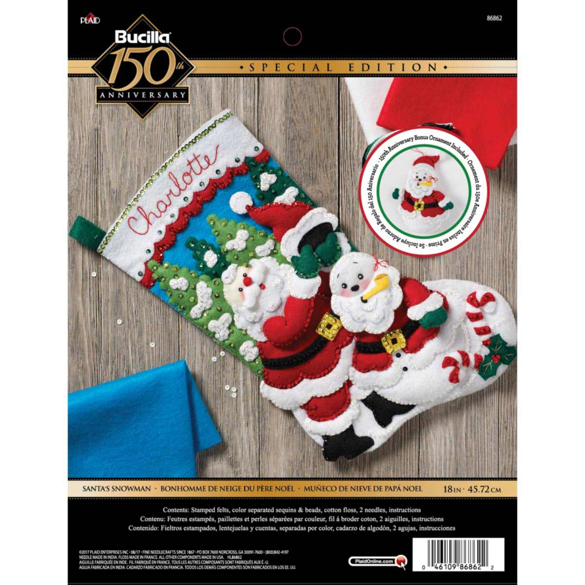 Bucilla ® Seasonal - Felt - Stocking Kits - Santa's Snowman - 86862