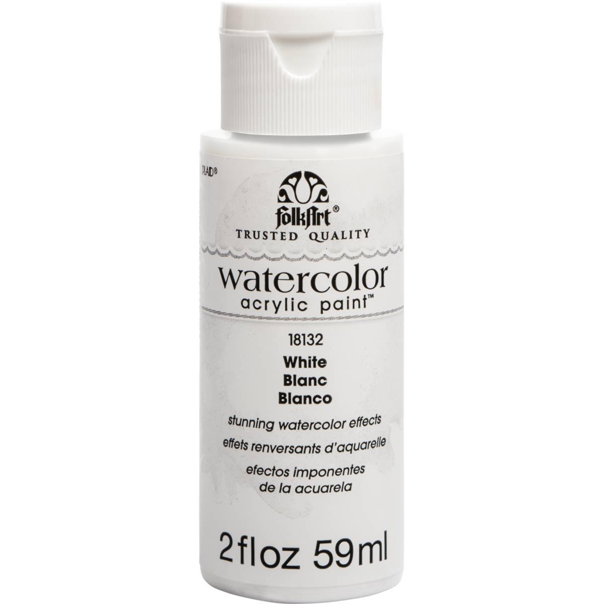 FolkArt ® Watercolor Acrylic Paint™ - White, 2 oz. - 18132