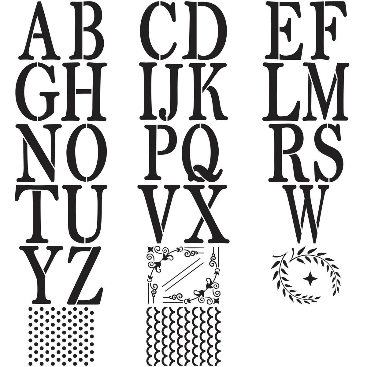 FolkArt ® Alphabet & Monogram Paper Stencils - Serif Font, 5