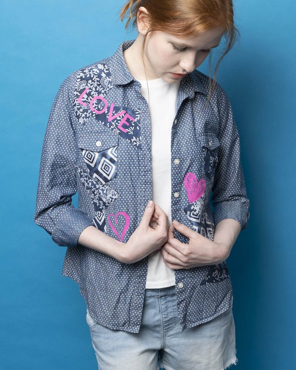 Denim Shirt with Fabric Patterns & Patches