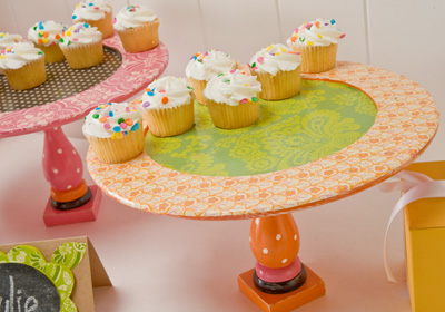 Mod Podge Birthday Cupcake Stands