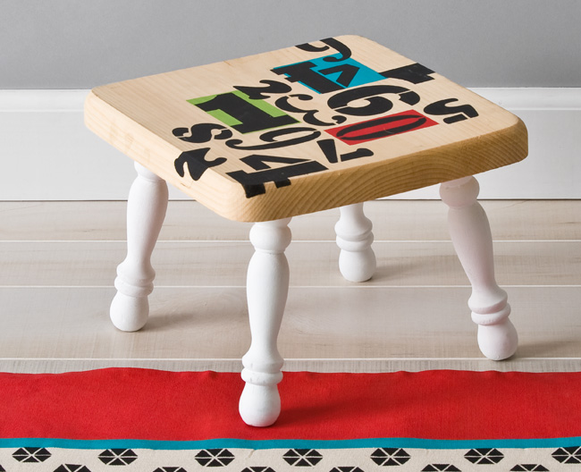 Handmade Charlotte Numbers Step Stool
