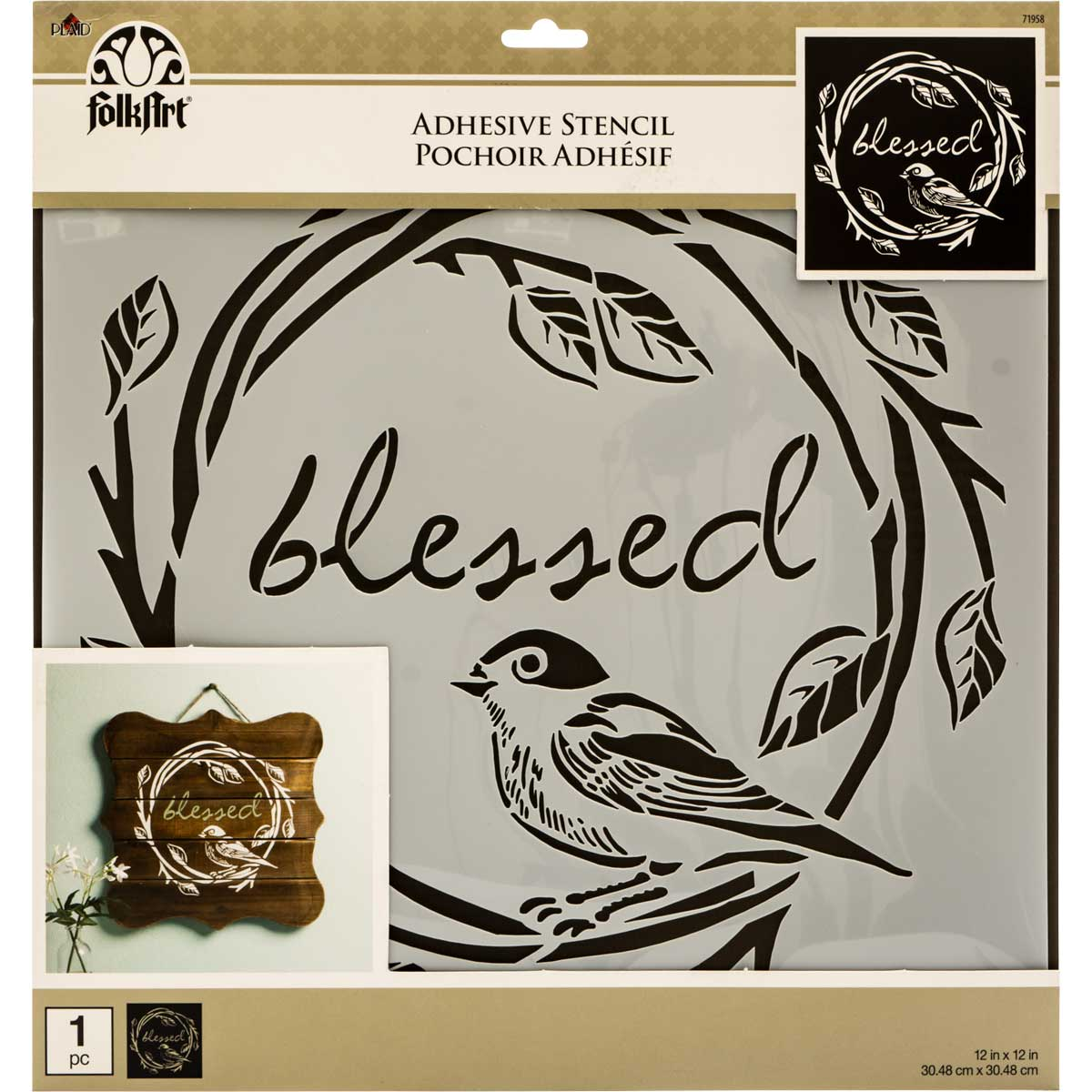 FolkArt ® Painting Stencils - Adhesive Laser - Blessed