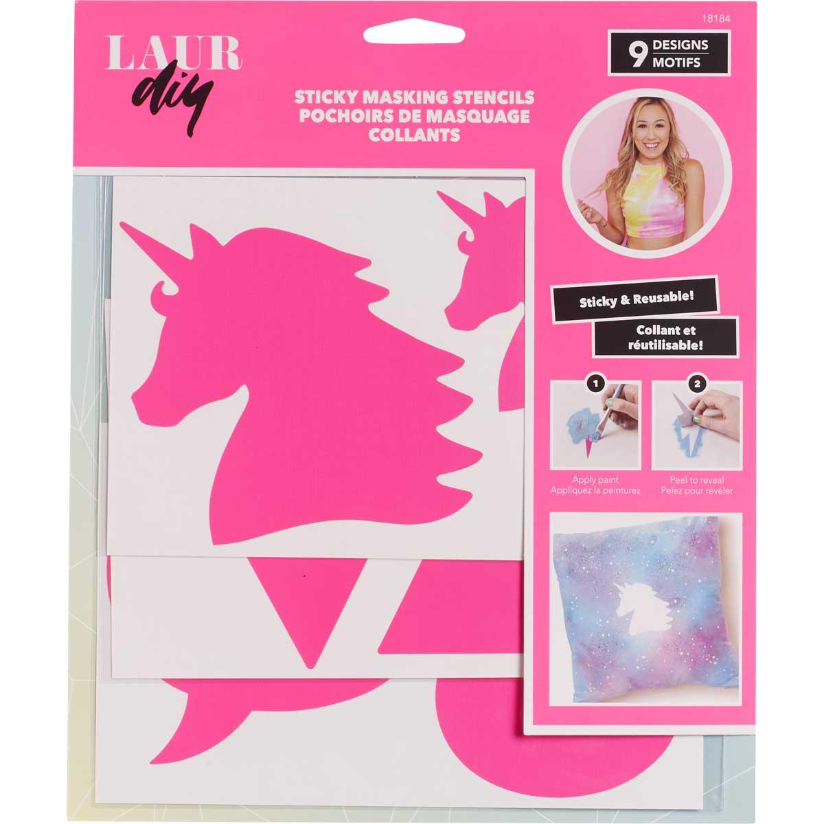 LaurDIY ® Sticky Vinyl Masking Stencils - Unicorn Whimsy - 18184
