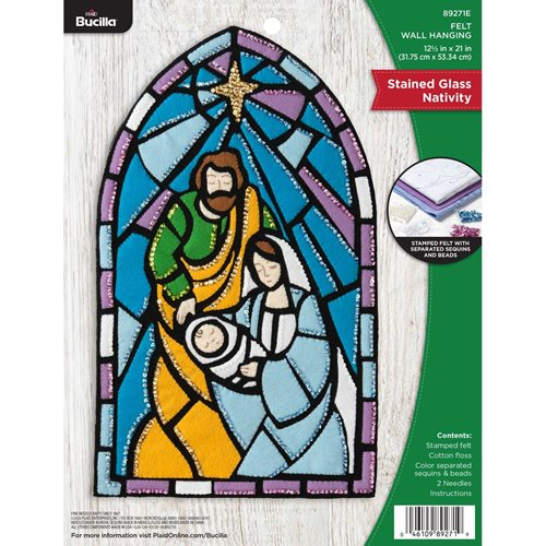 Bucilla ® Seasonal - Felt - Home Decor - Stained Glass Nativity Wall Hanging - 89271E