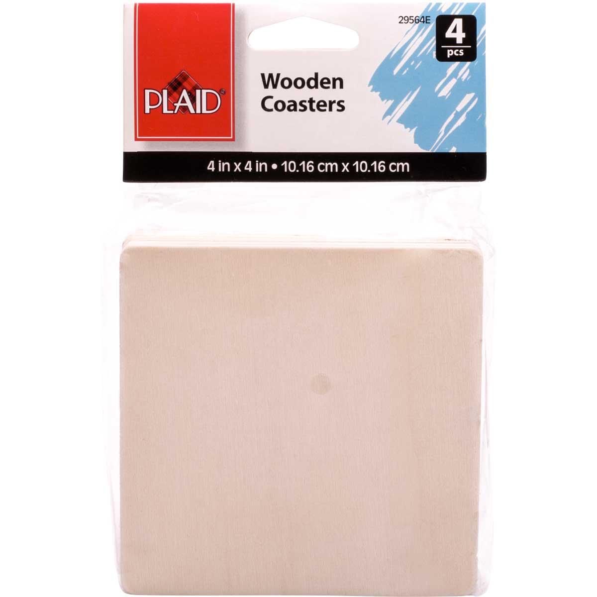 Plaid ® Wood Surfaces - Coasters - Square, 4 pc. - 29564E