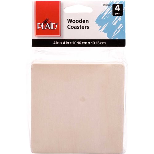 Plaid ® Wood Surfaces - Coasters - Square, 4 pc. - 29564E