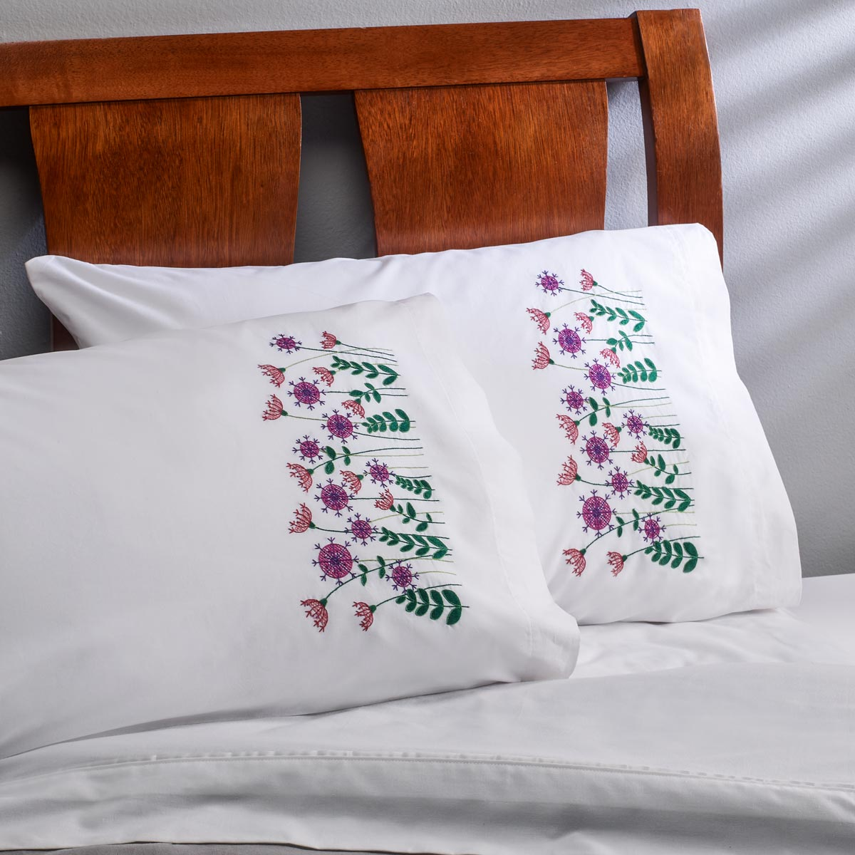 Bucilla ® Stamped Cross Stitch & Embroidery - Pillowcase Pairs - Dancing Dandelions - 44623E