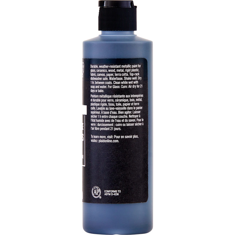 FolkArt ® Multi-Surface Metallic Acrylic Paints - Charcoal Black, 8 oz. - 4693