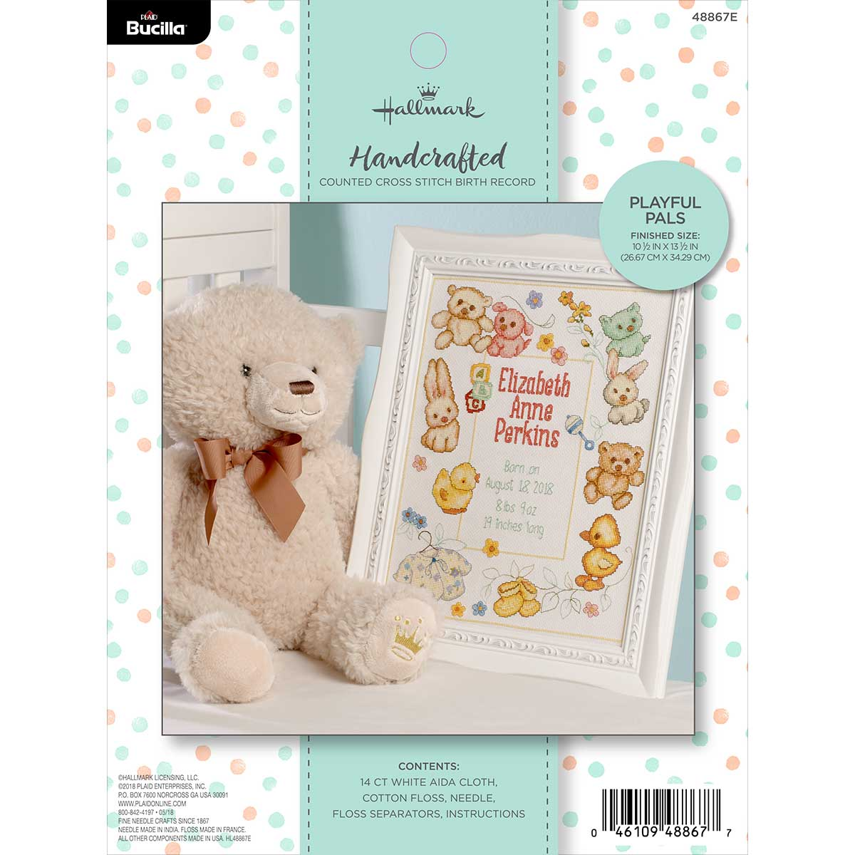 Bucilla ® Baby - Counted Cross Stitch - Crib Ensembles - Hallmark - Playful Pals - Birth Record Kit