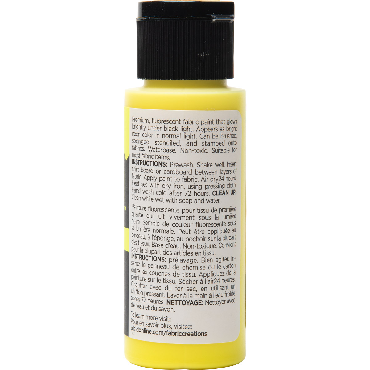 Fabric Creations™ Neon Black Light Fabric Paint - Yellow, 2 oz.