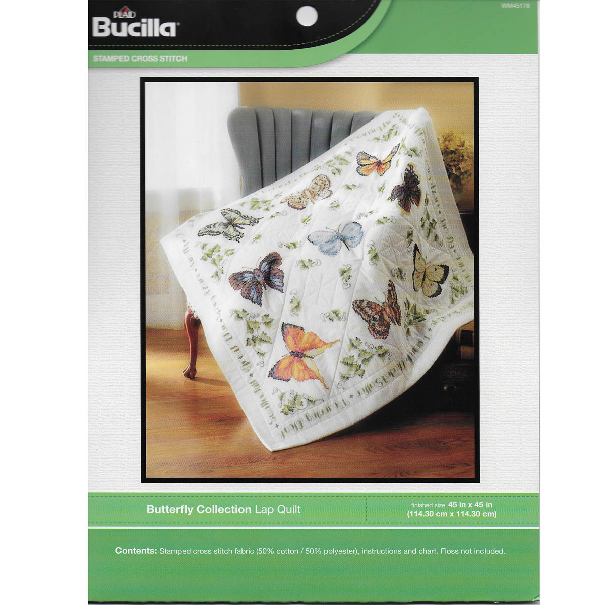 Bucilla ® Stamped Cross Stitch - Lap Quilts - Butterfly Collection - 45178