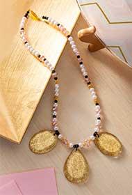 Gold Glitter Statement Necklace