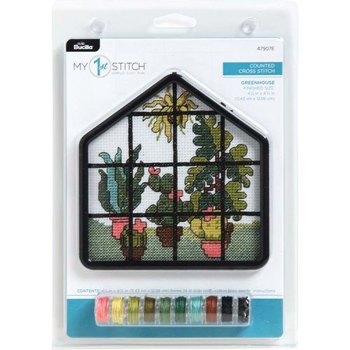 Bucilla ® My 1st Stitch™ - Counted Cross Stitch Kits - House Frame - Greenhouse - 47907E