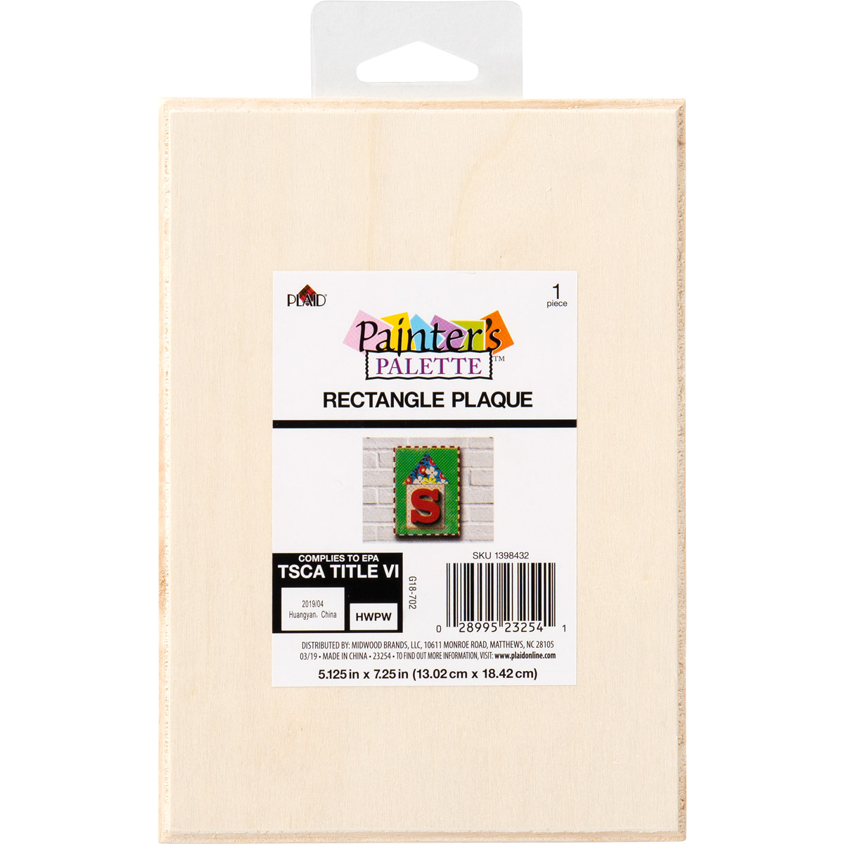 Plaid ® Painter's Palette™ Wood Value Plaque - Rectangle, 5 x 7 - 23254