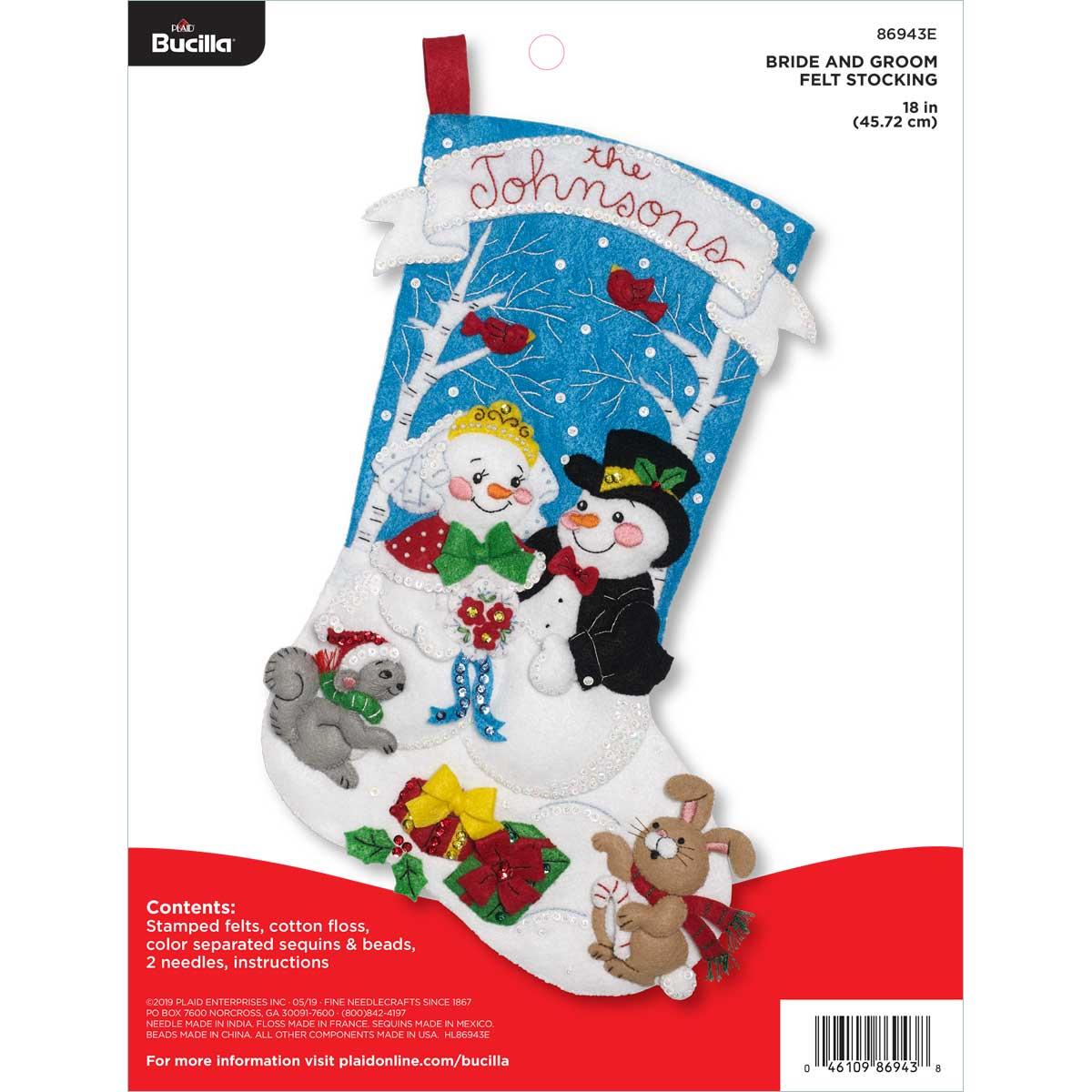 Bucilla Christmas Stocking Kits.Bucilla Seasonal Felt Stocking Kits Bride And Groom
