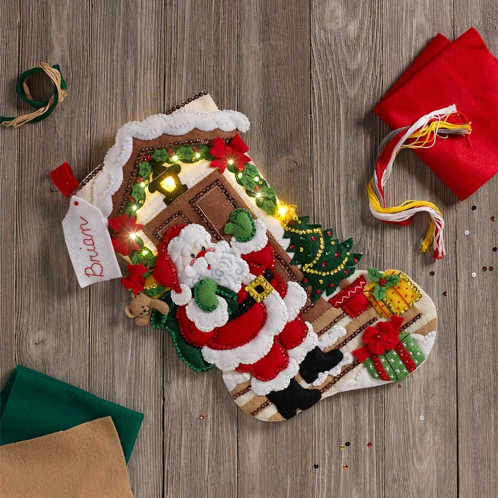 Bucilla ® Seasonal - Felt - Stocking Kits - Santa is Here with Lights - 86893