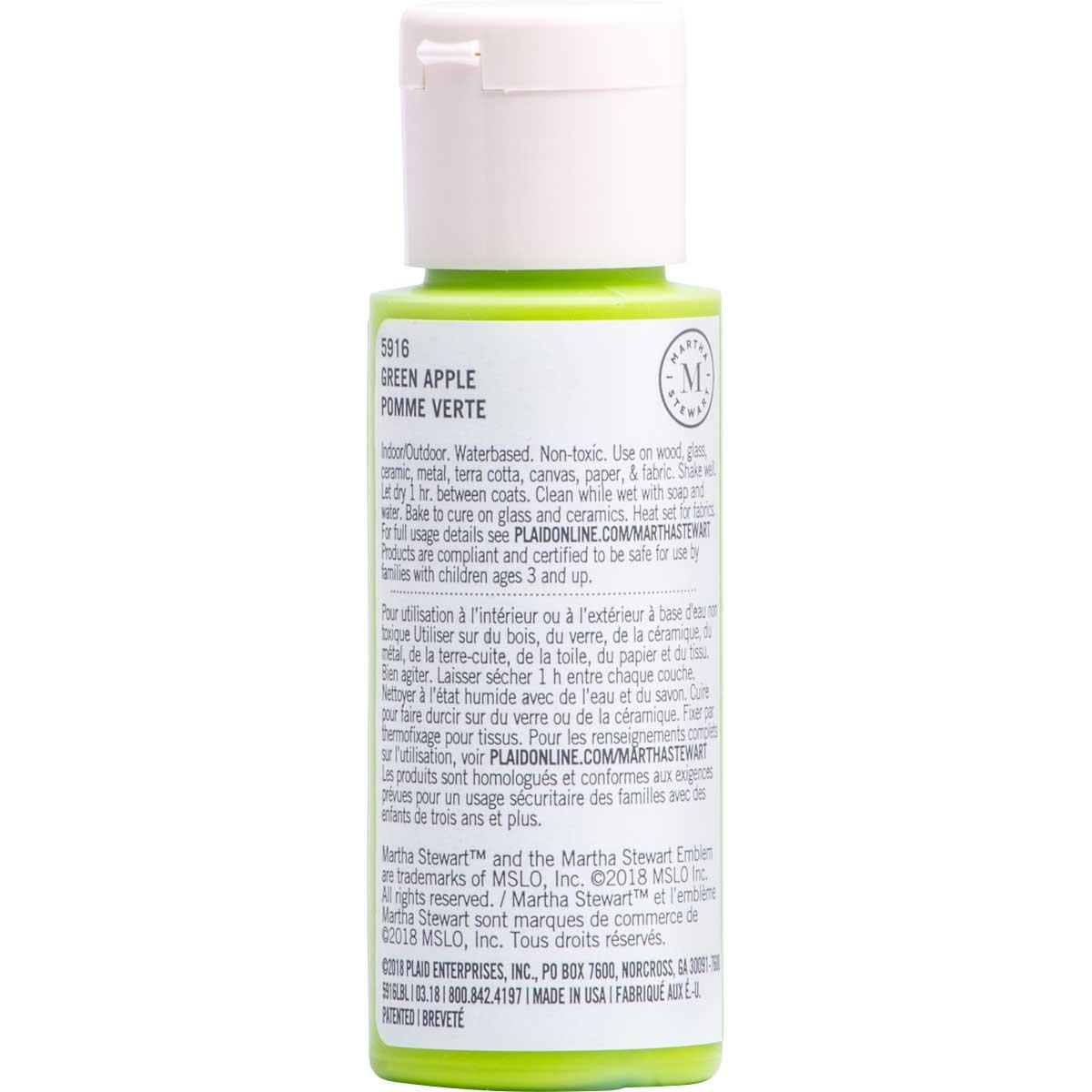 Martha Stewart ® Multi-Surface Satin Acrylic Craft Paint CPSIA - Green Apple, 2 oz. - 5916