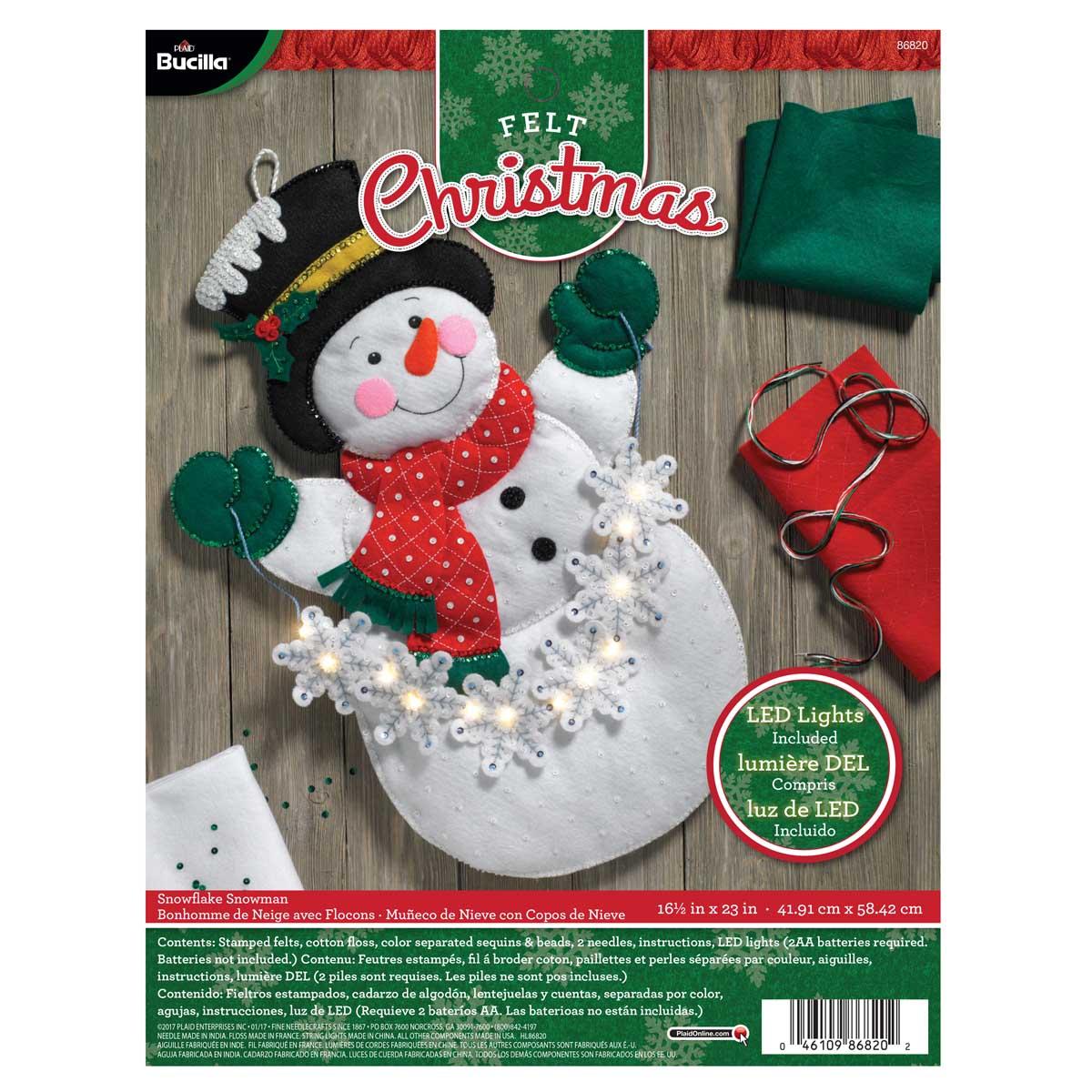 Bucilla ® Seasonal - Felt - Home Decor - Snowman with Snowflakes Wall Hanging with Lights - 86820