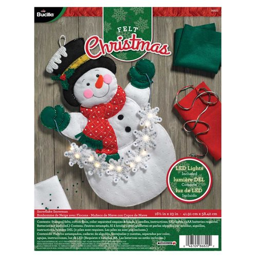 Bucilla ® Seasonal - Felt - Home Decor - Snowman with Snowflakes Wall Hanging with Lights - 86820