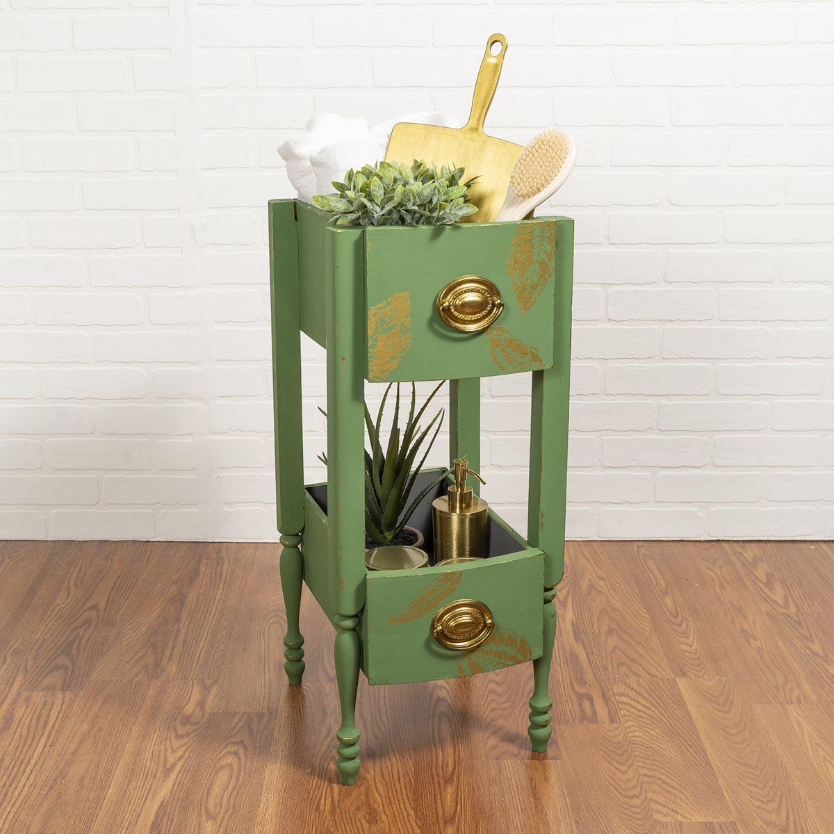 Green Waverly Bathroom Storage Decor