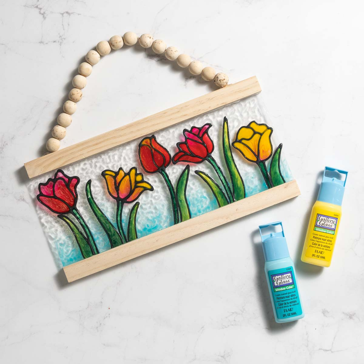 Spring Tulips Wood Bead Sign