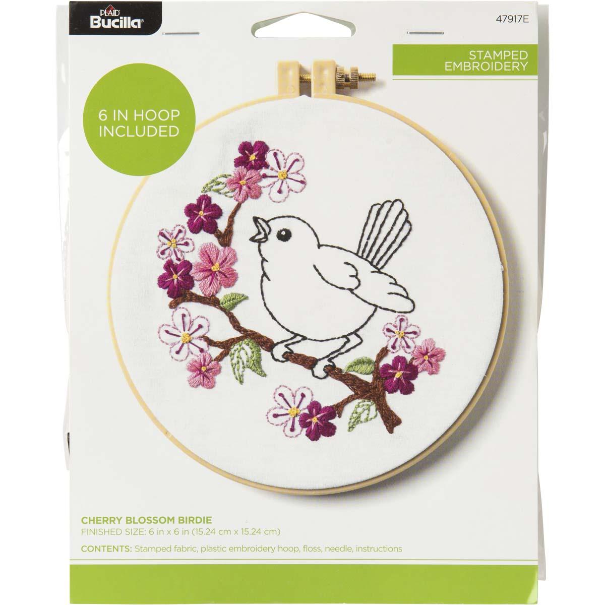 Bucilla ® Stamped Embroidery - Cherry Blossom Birdie - 47917E