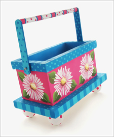 Painted Daisy Wood Tote