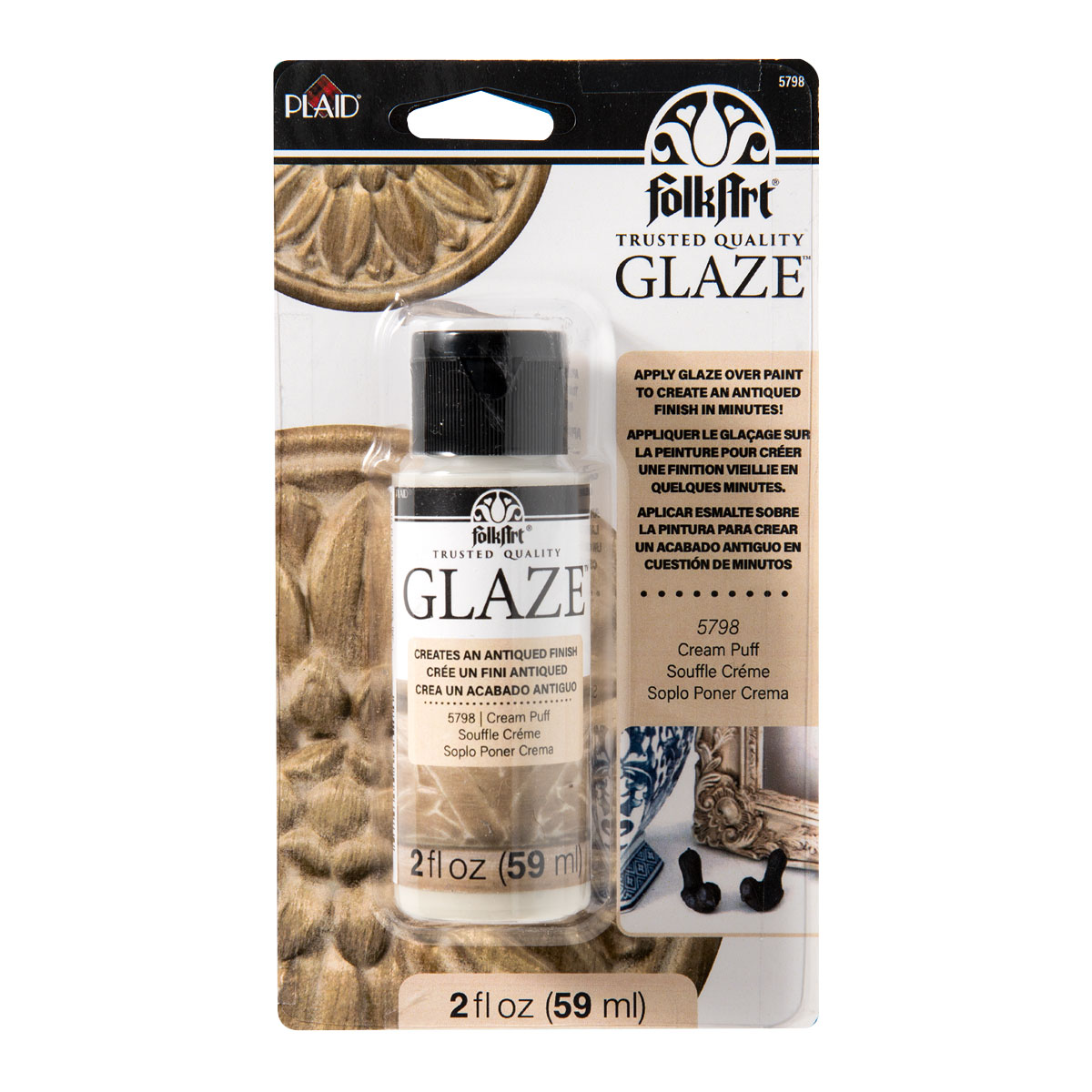FolkArt ® Glaze™ - Cream Puff, 2 oz. Carded - 5798