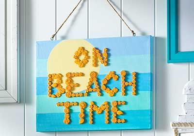 On Beach Time Hanging Plaque