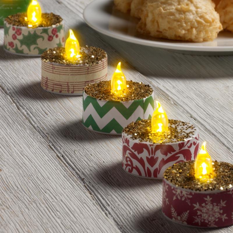 glittered christmas tea lights