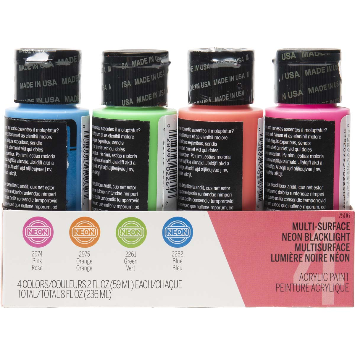 FolkArt ® Multi-Surface Neon Blacklight™ Acrylic Paint Set 4 Color - 7506