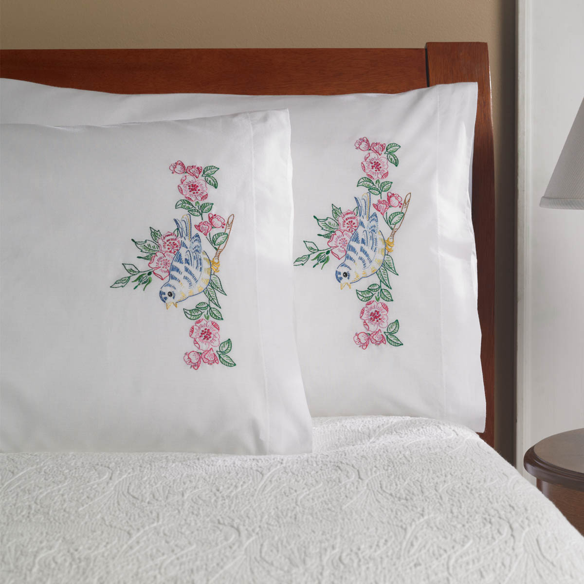 Bucilla ® Stamped Cross Stitch & Embroidery - Pillowcase Pairs - Songbird