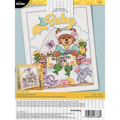 Bucilla ® Baby - Counted Cross Stitch - Crib Ensembles - Ships Ahoy - Birth Record Kit - 47786