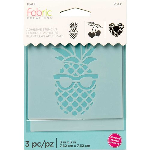 "Fabric Creations™ Adhesive Stencils - Mini - Pineapple-Cherry-Diamond, 3"" x 3"" - 26411"