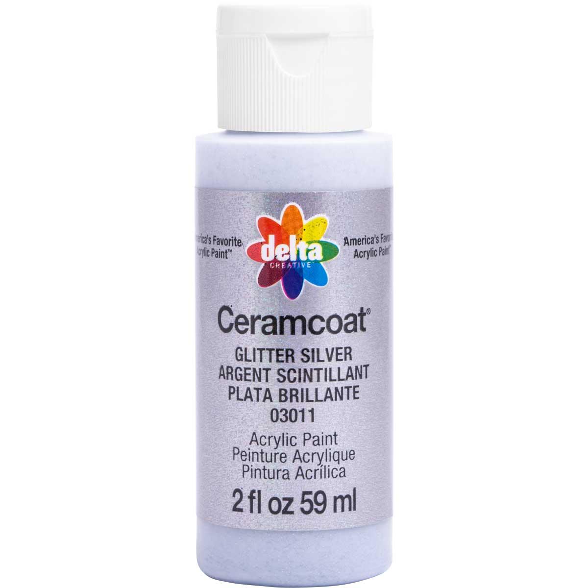 Delta Ceramcoat ® Acrylic Paint - Glitter Silver, 2 oz.
